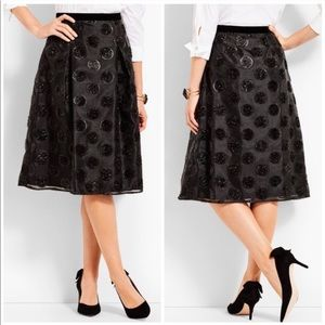 Talbots RSVP Clip Dot Lurex Polka Dot Skirt Black